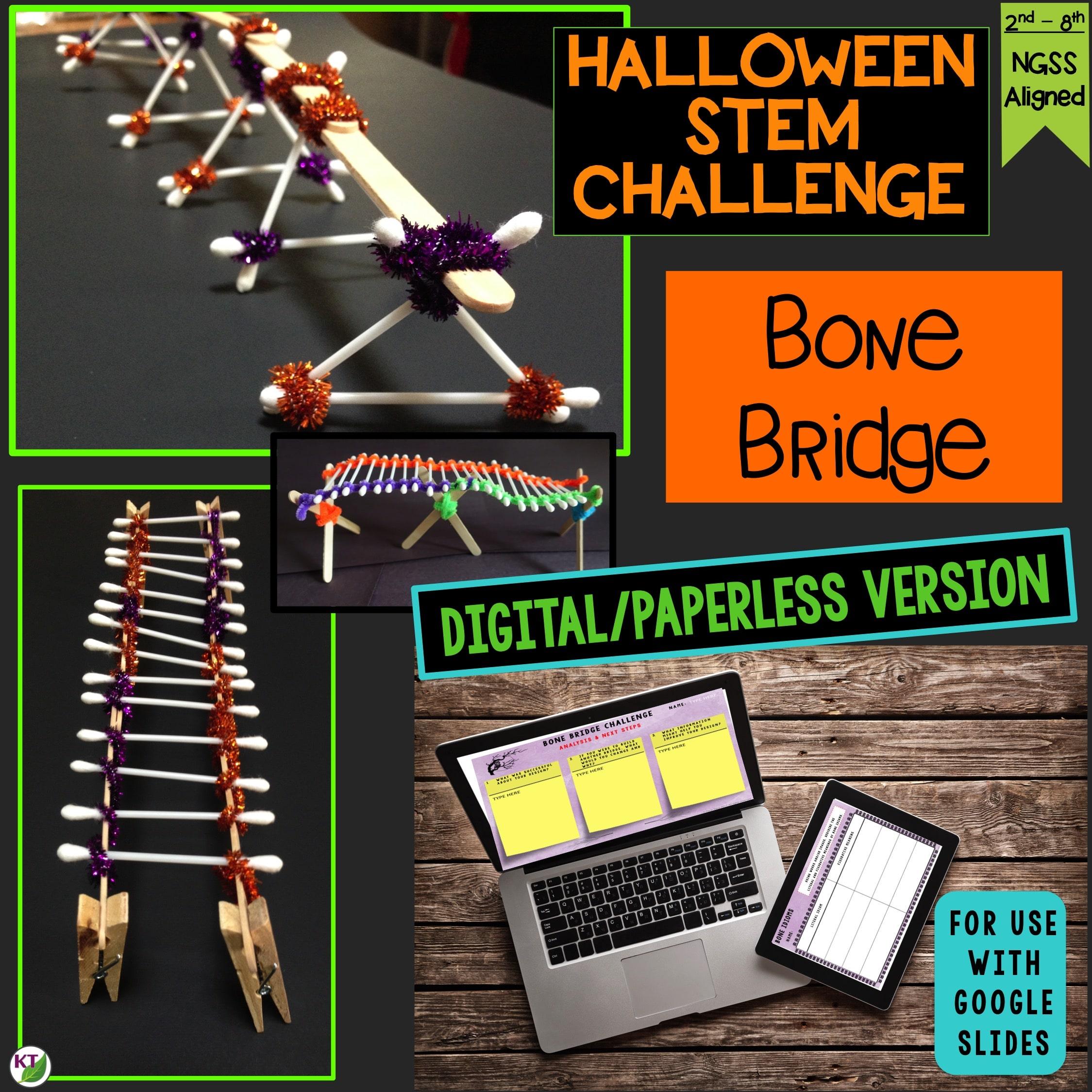 Bone Bridge Halloween Stem Challenge Paperless Stem Challenges