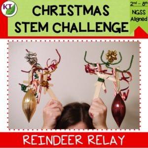 Christmas Stem Challenges.Reindeer Relay Christmas Stem Challenge Paperless Stem