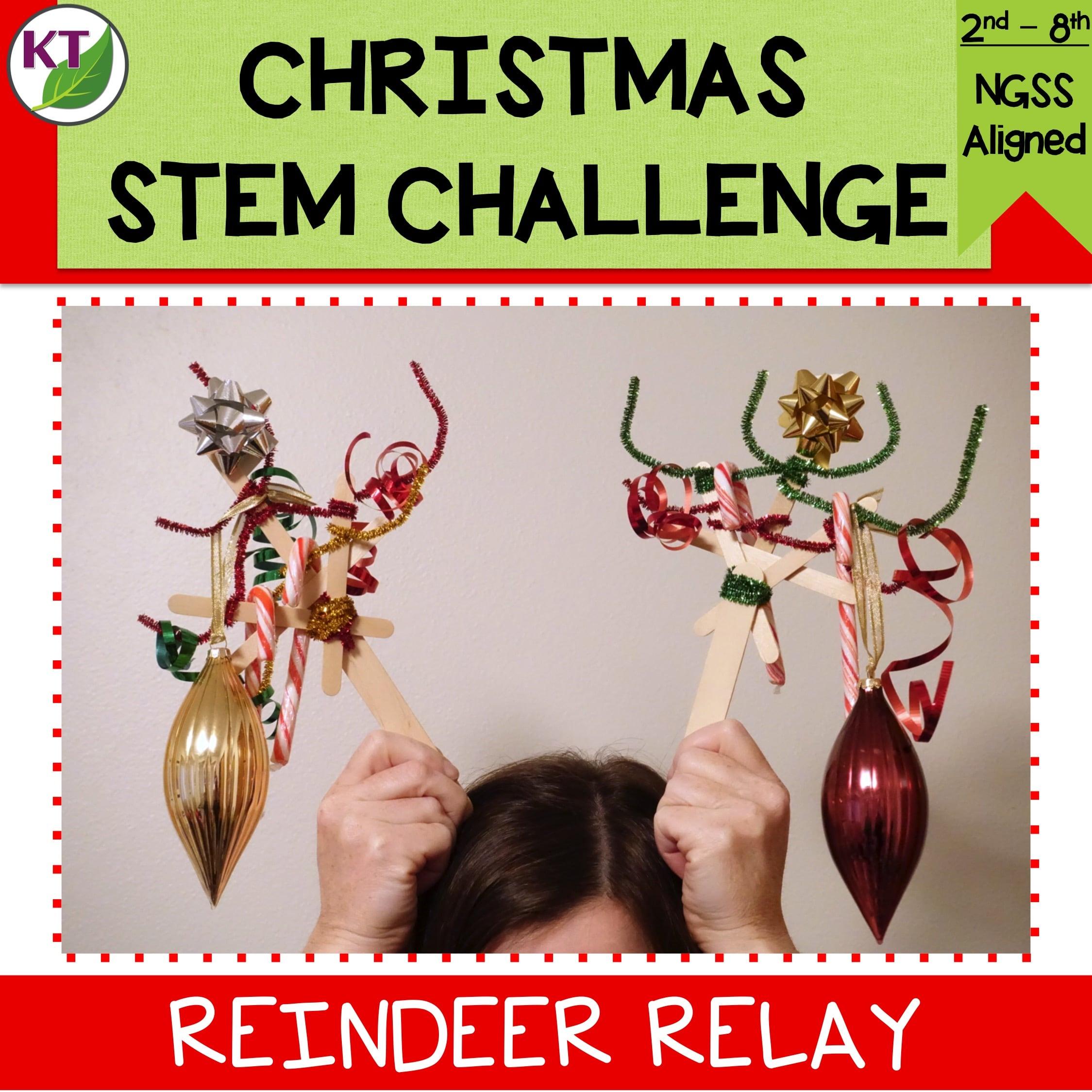 Christmas Stem Challenges.Reindeer Relay Christmas Stem Challenge
