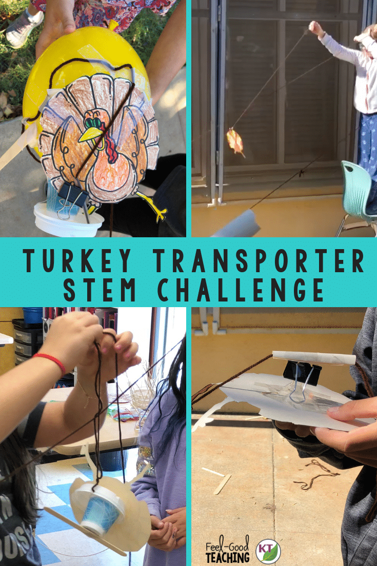Thanksgiving STEM Challenge: In Turkey Transporter, students design a way to transport turkeys quickly and safely across a horizontal and/or vertical distance. Includes modifications grades 2 - 8. Click through to the blog to see examples and video of student designs.