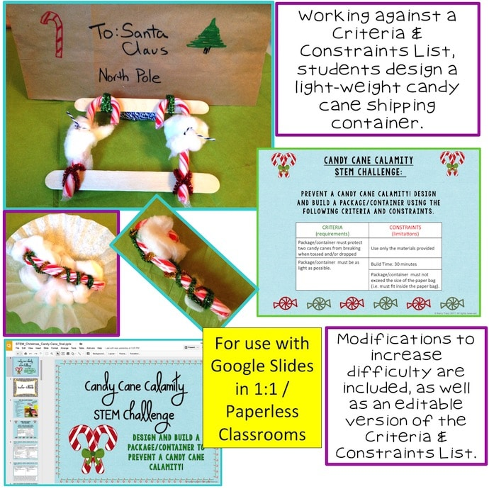 Christmas Stem Challenges.Candy Cane Calamity Christmas Stem Challenge Paperless