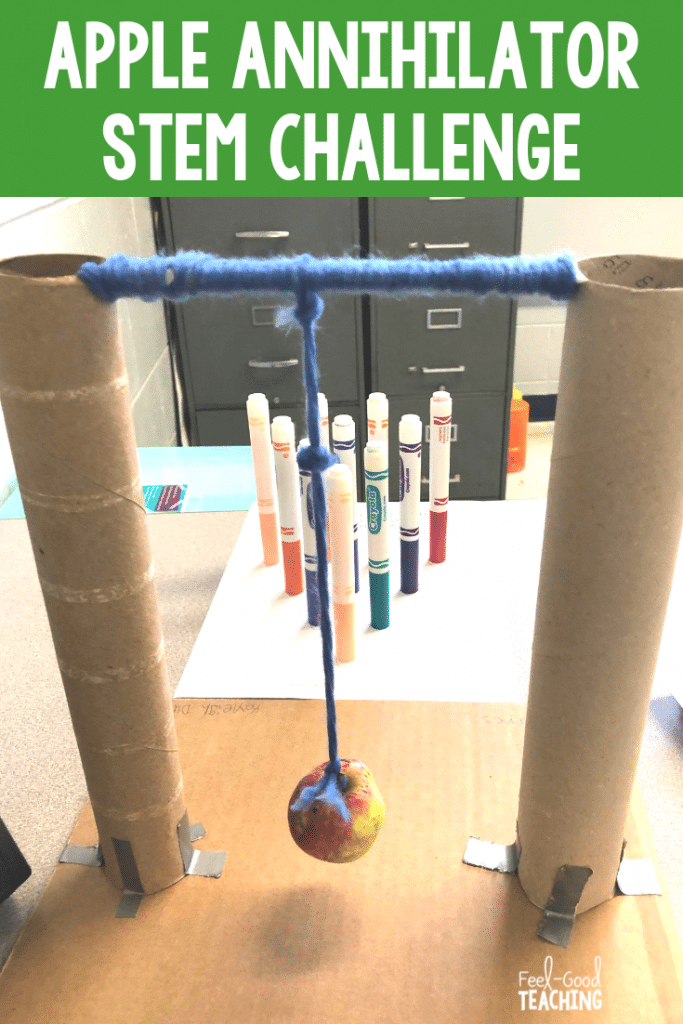 Apple Annihilator STEM Challenge is perfect for first day of school, team-building, fall and apple day activities and for learning about forces and motion. Click through to the blog to learn more.