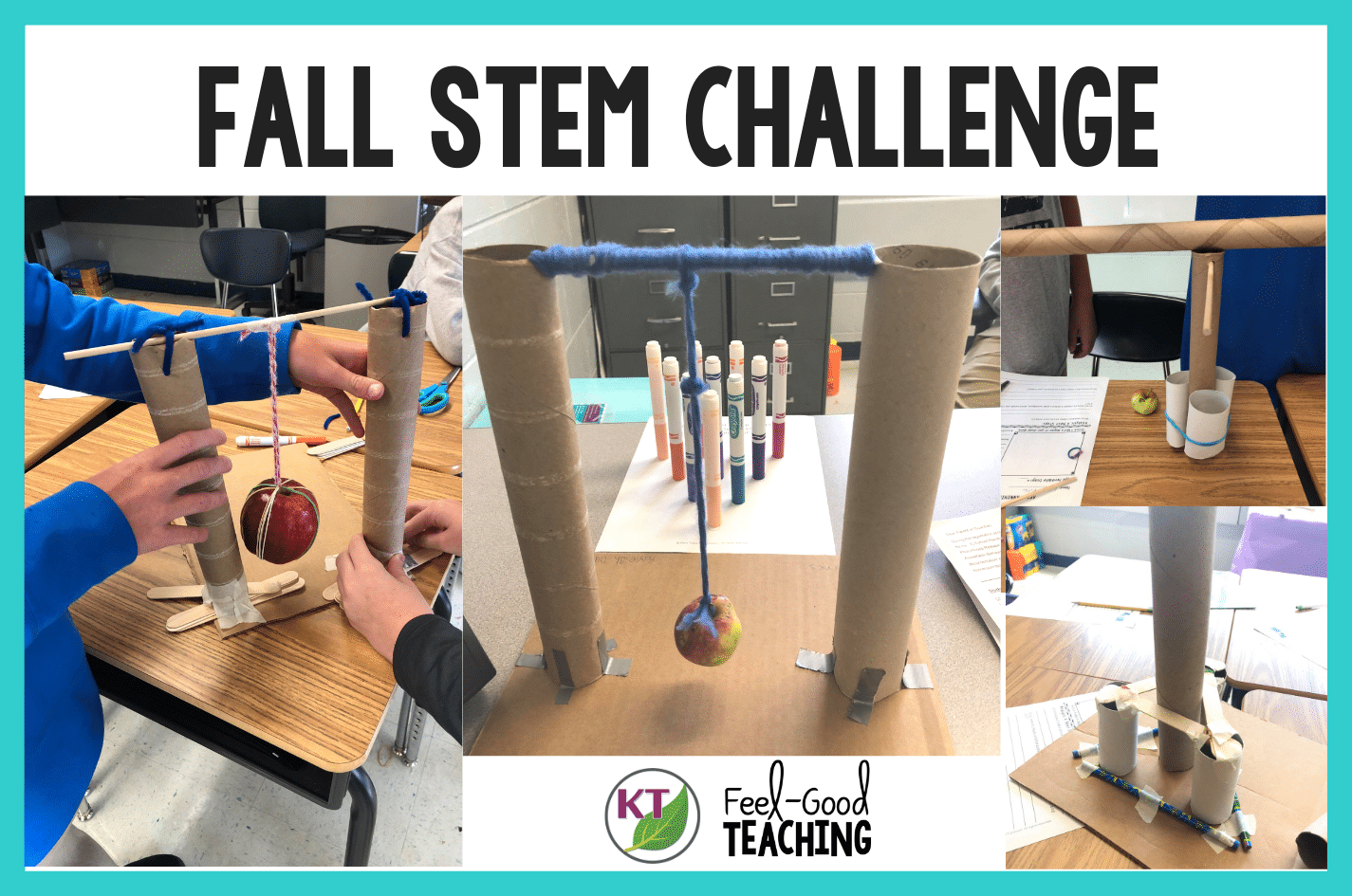 Apple STEM activities are perfect for back-to-school and all fall long! Apple Annihilator helps students develop teamwork, growth mindset and think critically. If you need an apple week activity or a fabulous way to introduce forces and motion, or kinetic & potential energy, this STEM Challenge has you covered! Click through to learn more.