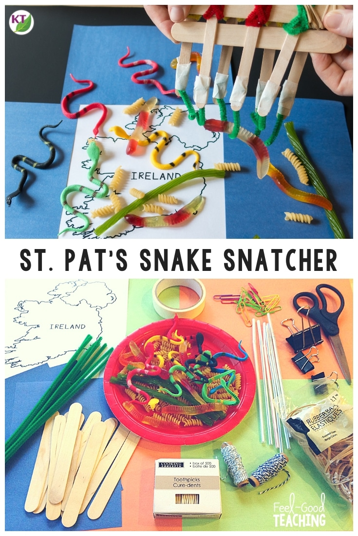 St. Patrick's Day STEM Challenges are the perfect spring activity! In this STEM Challenge, students design and build a tool to get the snakes out of Ireland. It's a great lead into lessons on camouflage and mimicry. A video walk-through and modifications are included to help you make the challenge engaging and productive for students in grades 2 - 8. Click through to the blog to learn more!